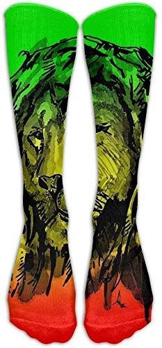 Calcetines unisex de longitud media, calcetines Reggae Lion, SHI FU Casual Novedad Vestido Crew Algodón Medias divertidas, Talla única 50CM