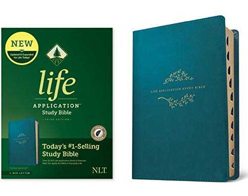 NLT Life Application Study Bible, Third Edition (Red Letter, LeatherLike, Teal Blue, Indexed)