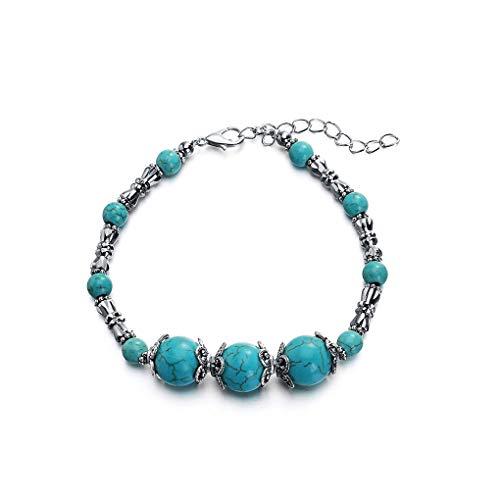fgyhtyjuu Unisex Bracelet Women Men Stainless Steel Chain Stone Beads Wristband Bangle Wrist Jewelry