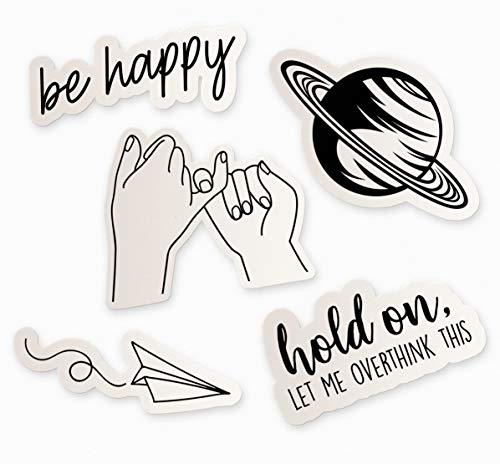 Cool Black and White Sticker Pack, 5 White Stickers for Water Bottles, Cute Stickers for Teens, Computer Stickers for Laptop, Made in US (Black & White)