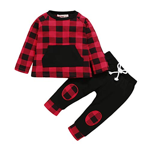 Toddler Baby Boys Girls Christmas Clothes Red Plaid Long Sleeve Pocket Top Pants Sleepwear Outfit Set Pjs (Red, 1-2T)