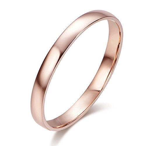 HAFEEZ CENTER 10k Solid Gold 2mm Light Comfort Fit Classic Plain Wedding Band (Rose-Gold, 9)