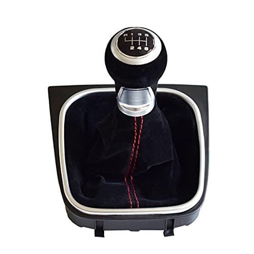 Stick Leva Pomo De Cambio De Marchas Palanca De Cambios Cuero De Ante Negro A Prueba De Polvo para Go&lf 5 6 MK5 MK6 R32 GTI 04-09 para 5 6 Velocidades (Talla : 6 Velocidad)