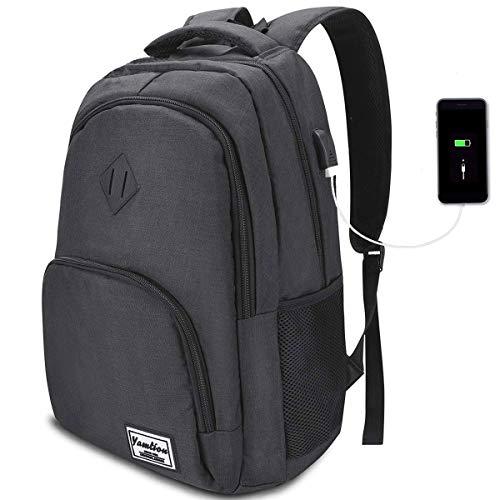 17 Pulgadas Mochila de Portátil con USB Puerto para Escolar Negocio- 35L (17.3 Pulgada, Negro de Carbono)