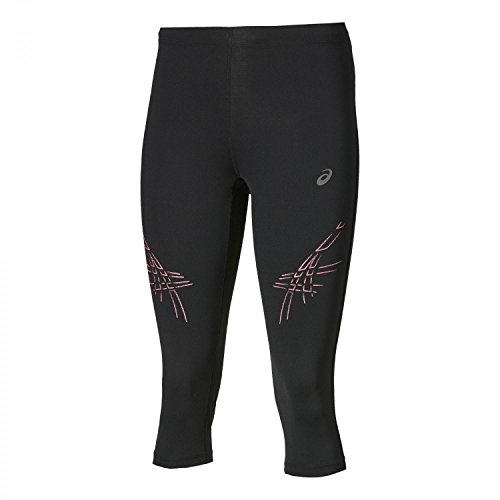 ASICS Stripe Pantaloni da Corsa a 3/4, Aderenti, Donna, Stripe, Performance Black/Camelion Rose, S