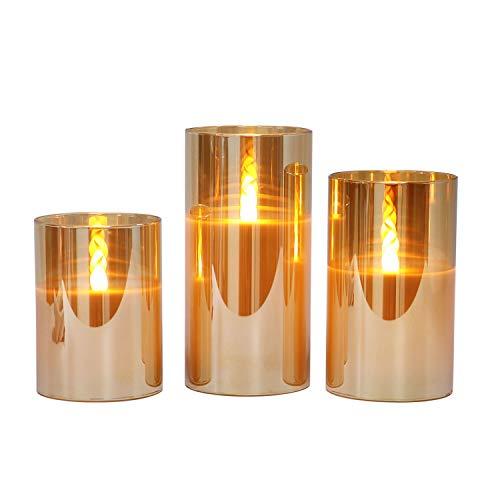 Gold flammenlose Kerzen im Glas, 3 Glaswindlichter mit 24-Stunden-Timer, warmweiße Licht mit Batterien enthalten