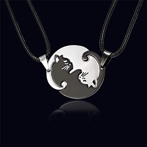 Collares para mujer y mujer, collar con colgante de gato de acero inoxidable, color negro y blanco