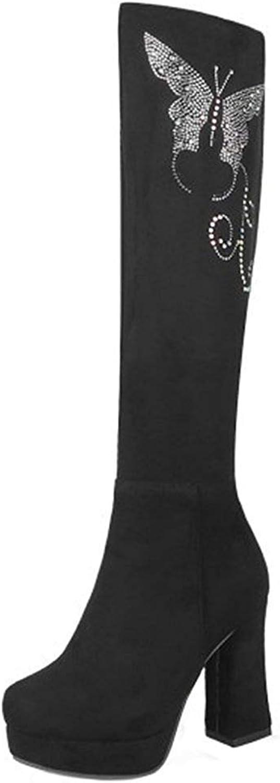 Gedigits Women's Fashion Rhinestone Chunky High Heel Platform Round Toe Faux Suede Side Zipper Knee High Boots Black 7 M US