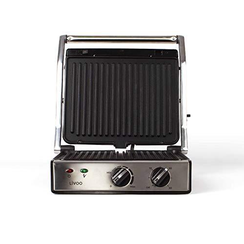 Kontaktgrill Abnehmbare Platten Tischgrill Elektrisch mit Deckel Sandwich Maker Edelstahl (Timer, Panini Maker, Elektrogrill, Starke 2000 Watt)