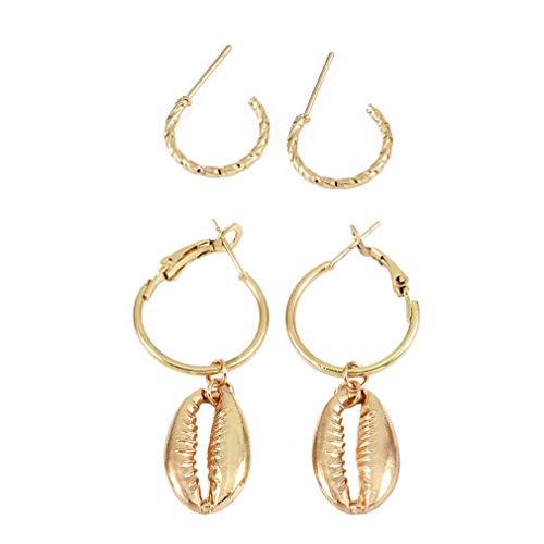 Weiy Shell Ohrringe Creolen Kreis Ohrringe kleine runde Ohrringe Muschel Ohrringe Strand Eardrop Geschenk für Frauen