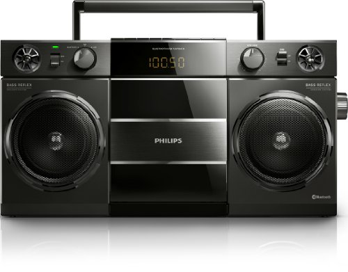 Philips OST690/00 Tragbare Lautsprecher (Bluetooth, Digitaler UKW-Tuner, MP3-Wiedergabe, USB Direct) schwarz