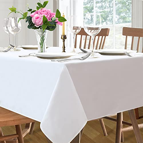 White Rectangle Tablecloth 60 x 120 Inch Party Decorative Fabric Table Cover for Outdoor Dining Birthday Table Use Wrinkle Washable Table Cloth