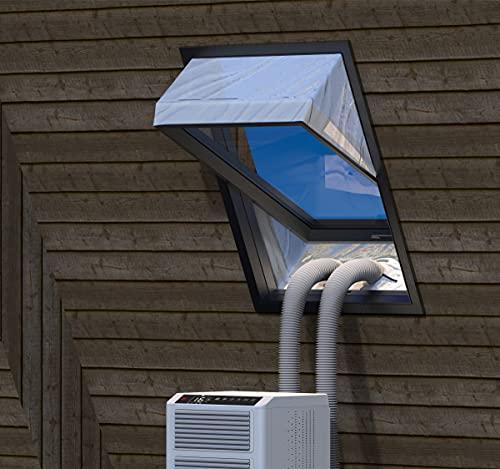 Fensterabdichtung für Mobile Klimageräte Dachfenster, Hot Air Stop zum Anbringen an Schwingfenster, Fensterabdichtung Klimaanlage für max 380cm Fensterumfang, Fensterkitt Set 2x190cm