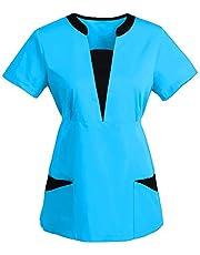 QiFei Ziekenhuis sliphemd blouse slanke taille korte mouwen V-hals gemengde stof casack vrouwen verzorging kleurrijke doktersuniform werkkleding verpleegkundige kleding