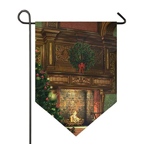 XiangHeFu Garden Flag Winter vakantie open haard kerstboom 12x18.5 inch (12