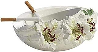 Ashtray, Ashtray Pastoral Gift Resin Lily - White,Colour:White (Color : White)