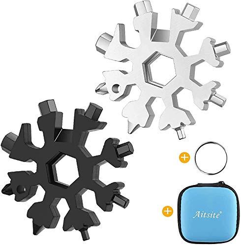 Multi herramienta copo de nieve Tarjeta de la herramienta del copo de nieve Destornillador multi-herramienta de acero Llavero Abrebotellas Tarjeta (Negro+Plata)