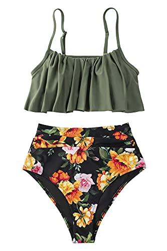 CUPSHE Women's High Waist Bikini Swimsuit Ruffle Two Piece Bathing Suit, XXL