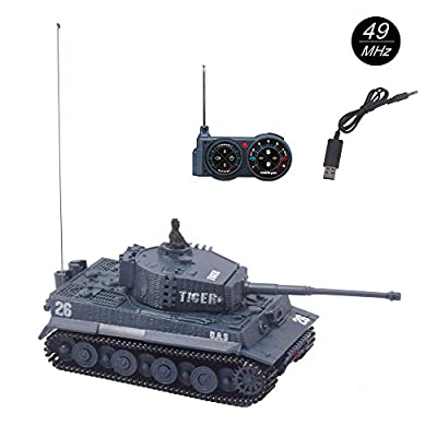 YouCute mini RC Tank with USB charger cable Remote Control Panzer tank 1:72 German Tiger I with Sound, Rotating Turret and Recoil Action When Cannon Artillery Shoots 49MHz(Blue A)