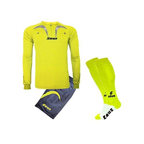 Zeus Kit Calcio Arbitro PRO COMPRESO di Calza Calcetto Allenamento Completino (Giallo Fluo-Grigio Scuro, M)