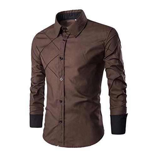 Tendencia de Costura para Hombres Camisas clásicas Moda Diseño de línea a Cuadros Ropa de Calle Camisas Casuales de Manga Larga Primavera y otoño M