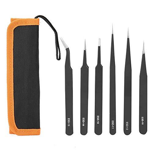 DERCLIVE Pinzetten-Set, 1,5 mm, 6-teilig, professionelles Edelstahl-Werkzeug für Nagelkunst, Uhren-Reparatur, Beauty-Zubehör