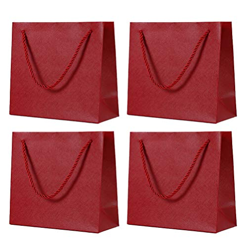 KESYOO ギフトバッグ 紙袋 手提げ袋 板紙 ボール紙 ラッピング袋 プレゼント おしゃれ 引き出物袋 結婚式 バレンタインデーのプレゼント用 4個セット 4個セット (赤)