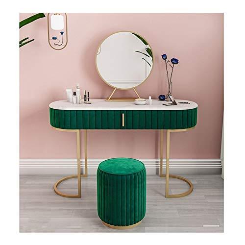 QWERTY Vanidad del Maquillaje De La Tabla con Espejo De Baño Heces Cajones For El Dormitorio Juego De Maquillaje De Almacenamiento Tocador de Muebles Modernos (Color : Green, Size : 120cm Long)