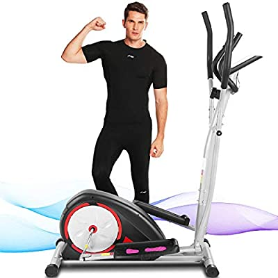 FUNMILY Elliptical Machine, Portable Magnetic Ellptical Exercise Machine with LCD Display for Home Office Use (Dark Red)