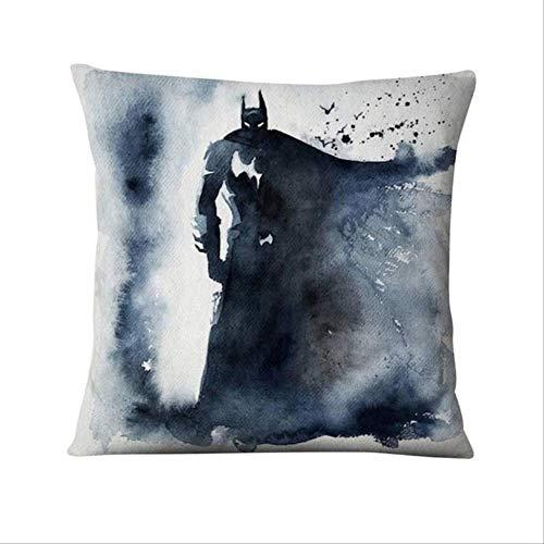 JPDP Cuscino Stampato Decorativo Acquerello Illustrazione Federa di Lino per Divano Cuscino di tiro 45x45 cm Batman