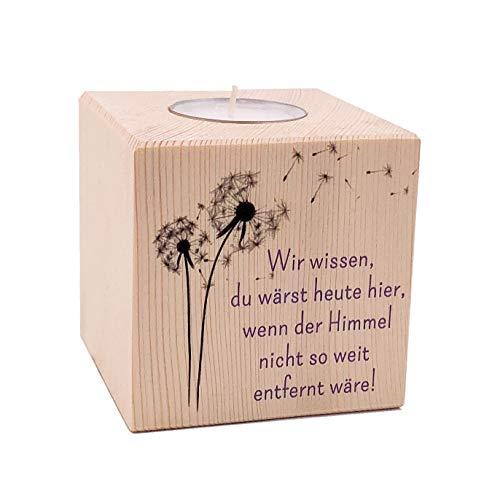 KATINGA Teelichthalter Gedenken, 8x8x8cm, inkl. Teelicht (Pusteblume)