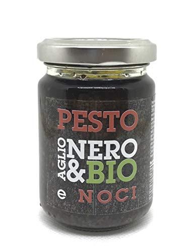 NERO FERMENTO NB Pesto di Aglio Nero Bio di Voghiera D.O.P. con Basilico e Noci 80 gr, Made in Italy, Senza Conservanti, Antiossidante, Ottimo su crostini, grissini, formaggi o per condire paste