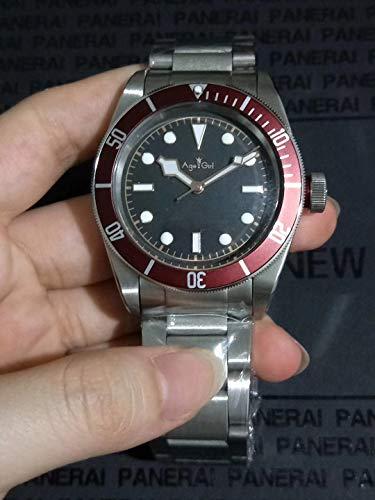 Leshared automatisch herenhorloge, mechanische horloges, zwart, beaarde, rood, bril, keramiek, roestvrij staal, saffierglas, 41 mm, AAA