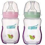 U-Grow Anti Colic Wide Neck Heat Sensitive Baby Feeding Bottle (Pack of 2) ( Pink & Green), (240ml)