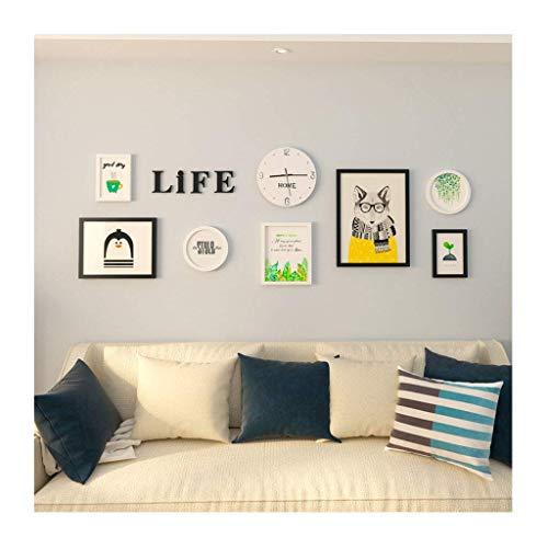 CAIJINJIN marco de fotos La habitación de Imagen de pared reloj de pared de la decoración de la pared del dormitorio infantil Colgando gráfico creativo decoración de la pared Marco Marco Imagen de par