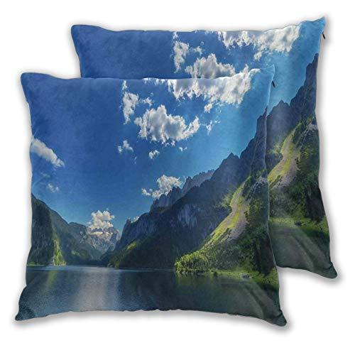 SAIAOS Juego de 2 Funda de Cojín 40x40cm Mañana en el Lago de montaña Gosausee ubicado en los Alpes de Austia Europa Cloudscape Fundas de Almohada para Cojines Decorativos para Sofá Cama Coche Hogar