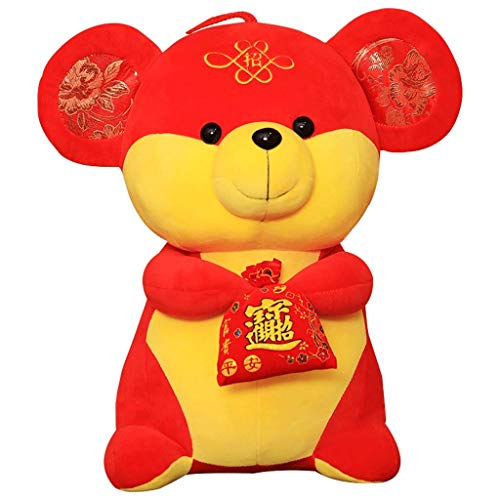 Galon Plüschtiere, Cute Little Ratte Mascots, senden Segen, Plüschtiere, Tang Anzüge, Segen, Zodiac Maus Puppen, Geeignet for Urlaub Geschenke alles Alters (Size : 25cm)