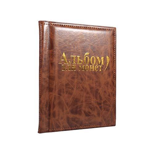 SOULONG Raccoglitore per Collezione di Monete, Moneta Tasche, Album Portamonete 250 Tasche (Marrone)