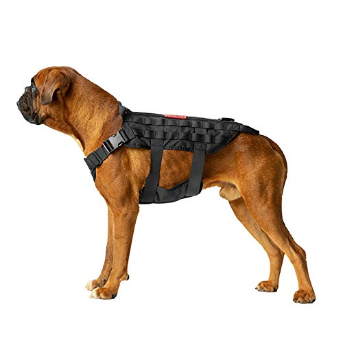 OneTigris Tactical Dog Harness Milltary Training Vest K9 Harness with Mesh Padding and Two Handles(Black, Medium)
