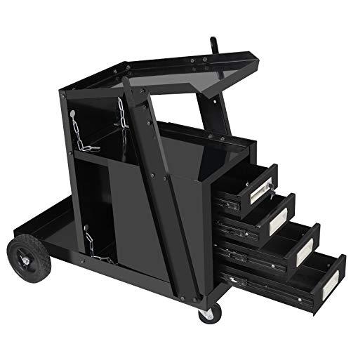 4 Drawer Cabinet Welding Cart, Mig Tig Arc Welder Cart Plasma Cutter Tank Storage Heavy Duty Rolling Workshop Organizer with 2 Safety Chains