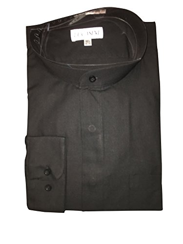 Big and Tall Banded Collar Clergy Shirt Barrel Cuff in White or Black (Black, 18.5' Neck/36-37 Sleeve)