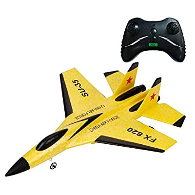 JVSISM Rc Plane Toy Epp Craft Foam Electric Outdoor Rtf Radio Remote Control Su-35 Tail Pusher Quadcopter Glider Airplane Model for Boy,Yellow
