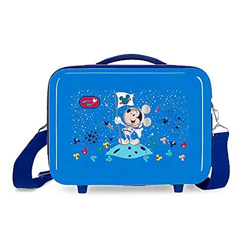 Disney Mickey on The Moon Neceser Adaptable con Bandolera Azul 29x21x15 cms Rígido ABS 9,14L