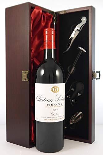 Chateau Potensac 1993 Haut Medoc in einer mit Seide ausgestatetten Geschenkbox. Da zu vier Wein Zubehör, Korkenzieher, Giesser, Kapselabschneider,Weinthermometer, 1 x 750ml