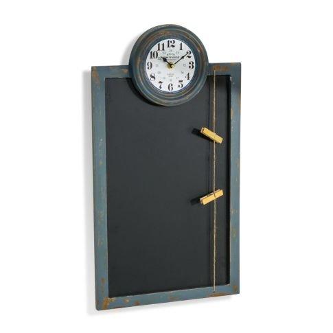 Großes Memoboard mit Uhr, Wandtafel, Notizen, Küchenuhr, Bürouhr, Tafel 60 x 33 cm