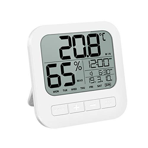 Hygrometer Thermometer innen digital Uhr Datum Wecker Luftfeuchtigkeitsmessgerät