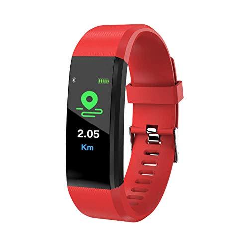 ID115 Plus Farbdisplay, Smart-Ring, Schrittzähler, Bluetooth, SMS-Erinnerung, wasserdicht, Fast kompatibel mit Allen Smartphones (rot)