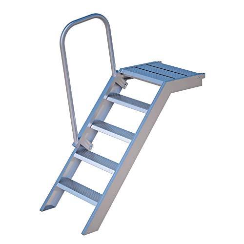Alu Podest-Treppe Rux Super mit Aufstiegshilfe einseitig, für 1 m Höhe