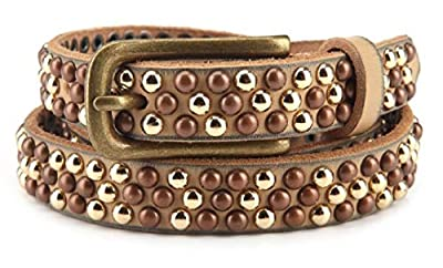 "Womens Gold Waist Studded Belt Leather Beige for Girls Casual Jeans and Dresses Skinny 3/4""(30"")"