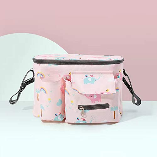 Universal Stroller Organizer Bag,Multifunction Stroller Storage Bag,Can Hold Water Cups, Baby Bottles, Umbrellas, tissues, etc.Fits for Strolle (Pink Elephant)